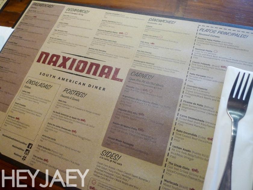 Naxional South American Diner Menu