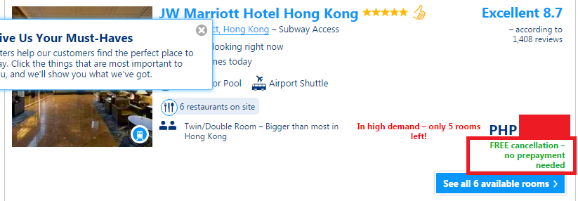 Hotel Booking Tips booking.com example